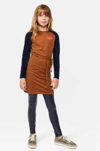 WE Fashion gestreepte jersey jurk bruin/donkerblauw, Bruin/donkerblauw