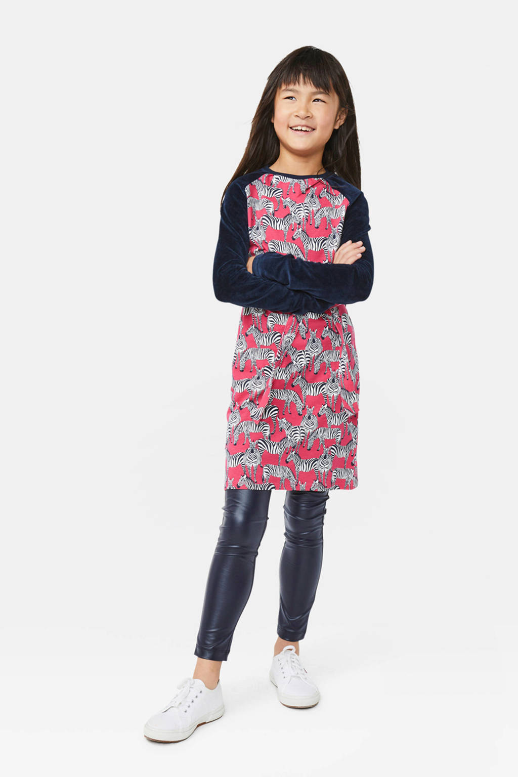 WE Fashion jurk met all over print roze/zwart/wit, Roze/zwart/wit