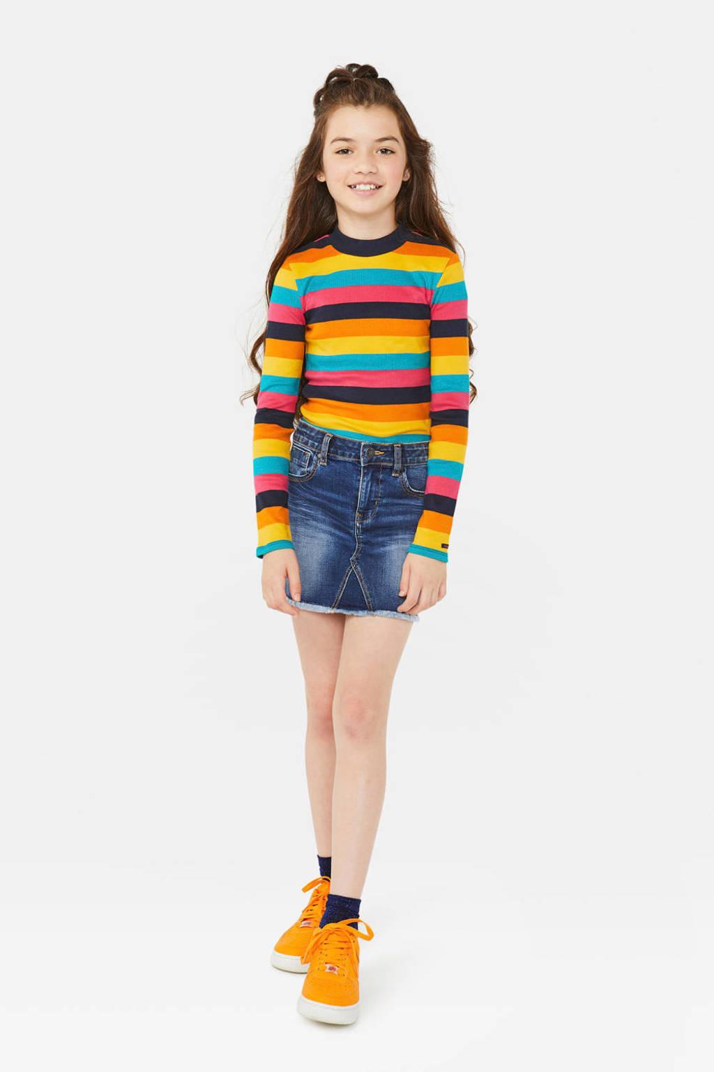 WE Fashion gestreepte longsleeve geel/multicolor