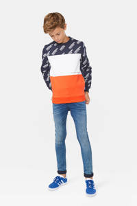 WE Fashion sweater donkerblauw/wit/rood, Donkerblauw/wit/rood