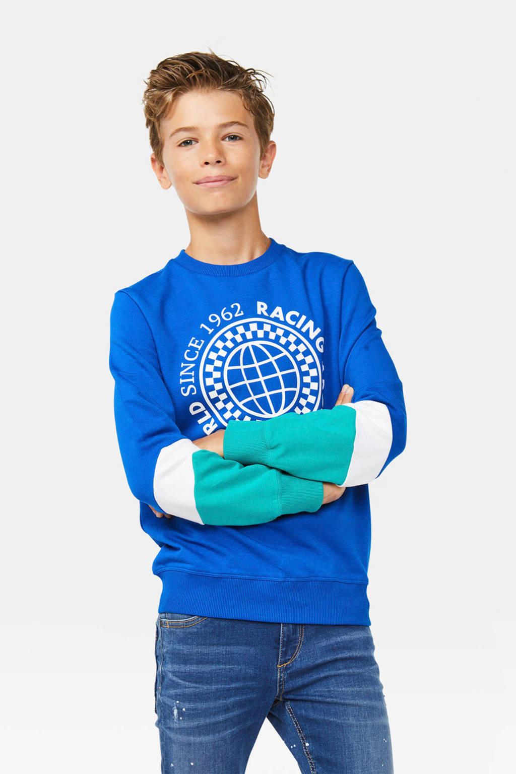 WE Fashion sweater met printopdruk blauw/wit/groen, Blauw/wit/groen