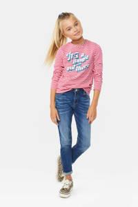 WE Fashion gestreepte glitter longsleeve roze/wit, Roze/wit