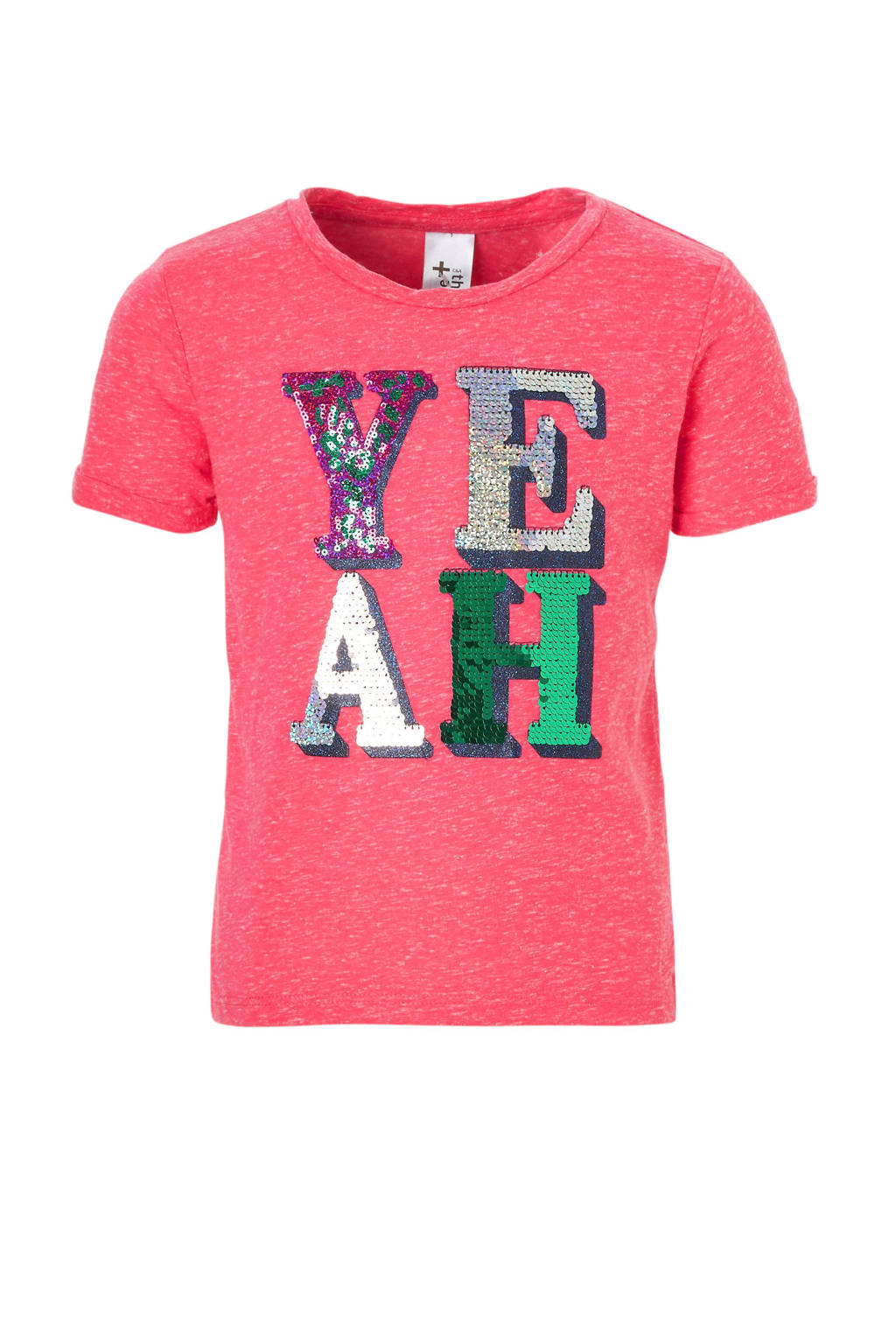 C&A Here & There T-shirt met pailletten roze, Roze