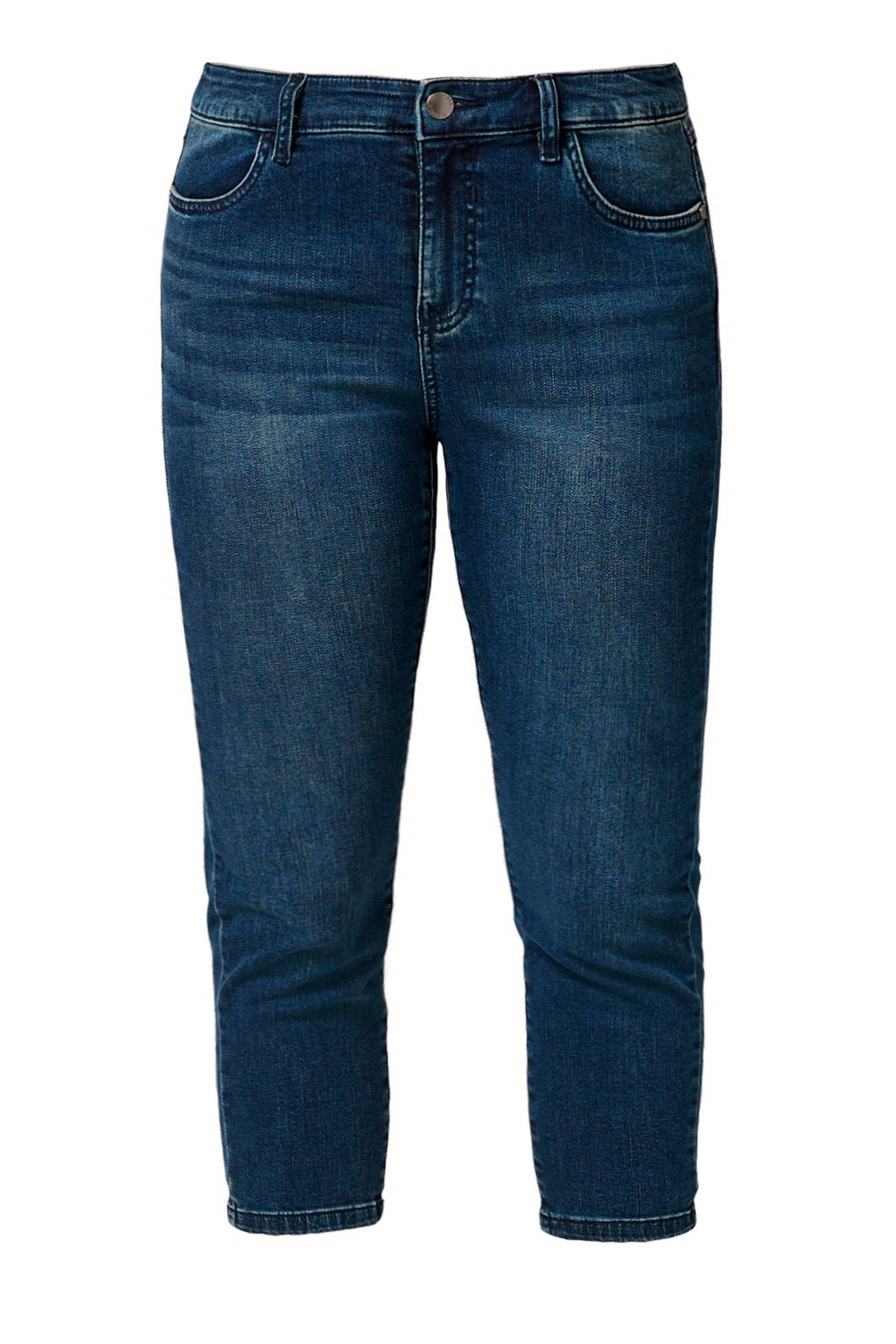 TRIANGLE cropped high waist slim fit jeans blauw, Blauw