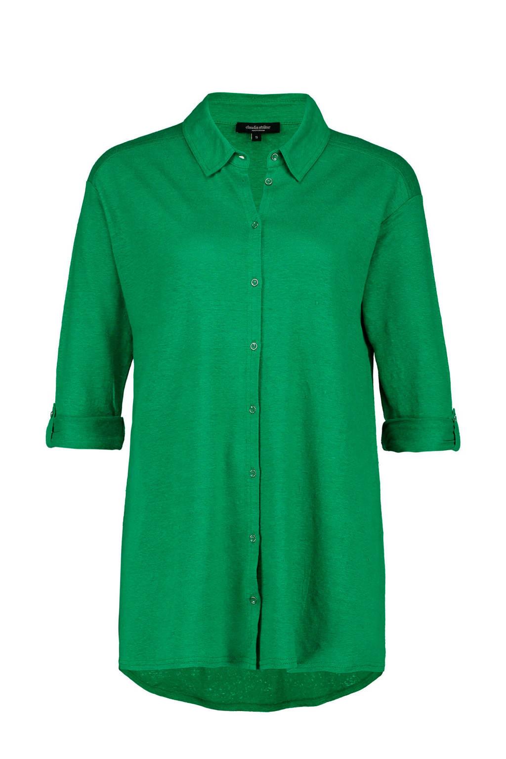 Claudia Sträter linnen blouse groen, Groen