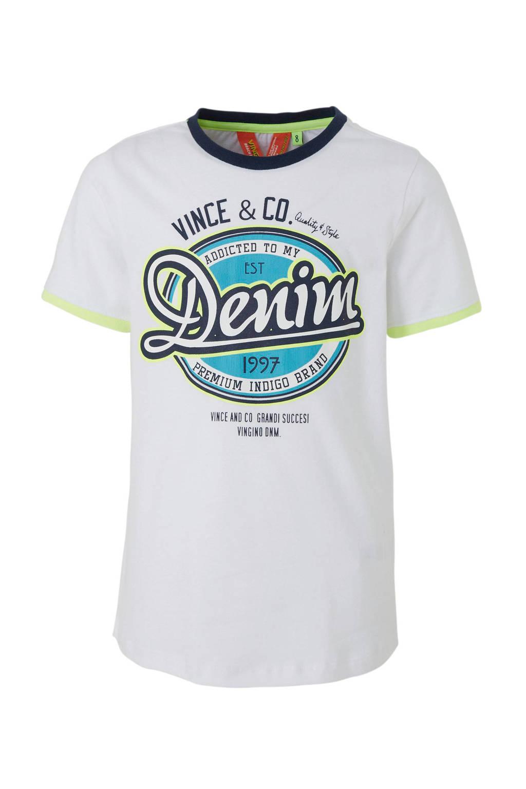 Vingino T-shirt Hit met tekstprint wit, Wit/blauw/geel