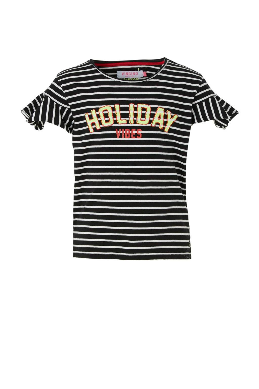 Vingino gestreept T-shirt Izem zwart, Zwart/wit/rood/geel