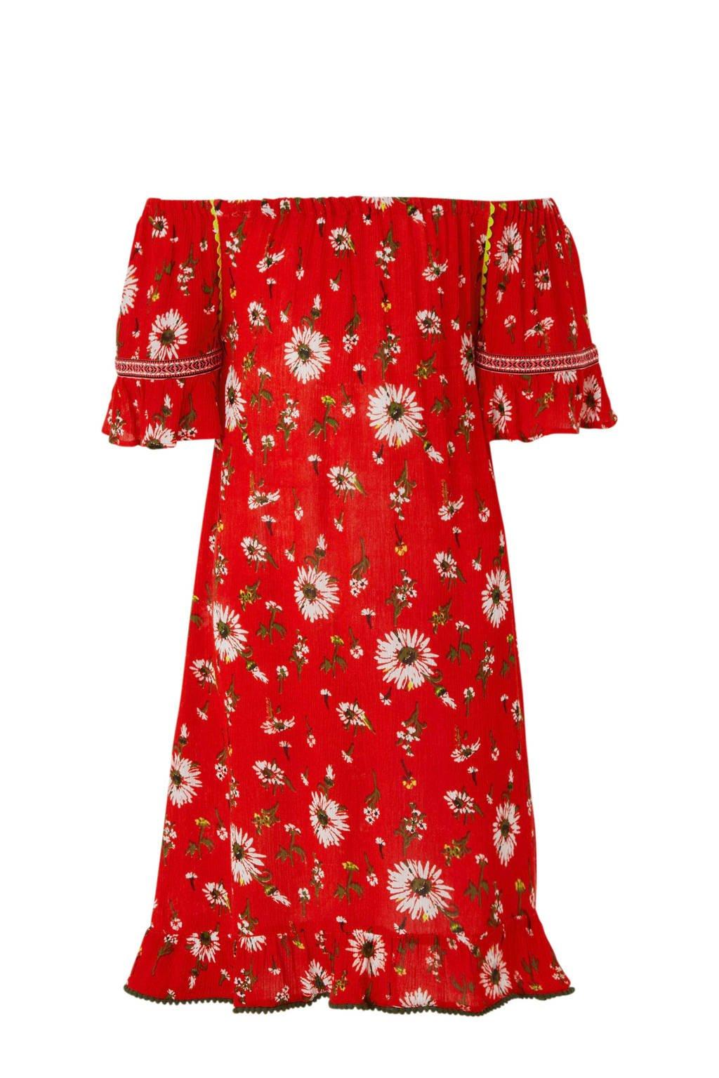 Vingino offshoulder jurk Primma met bloemen rood, Rood
