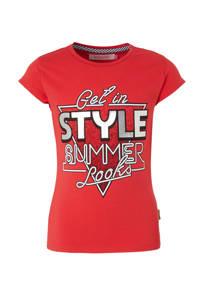 Vingino T-shirt met printopdruk rood/wit, Rood/wit