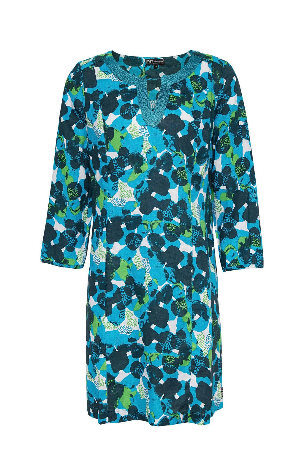 Didi geweven jurk met all over print, Blauw/groen