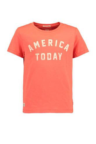 T-shirt Eke met logo oranje
