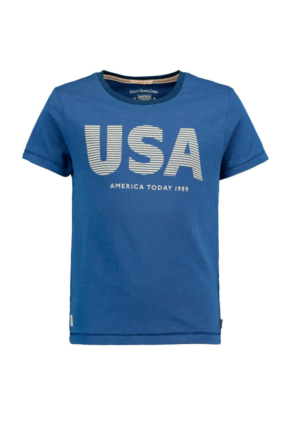 America Today Junior T-shirt Eric met tekst blauw, Blauw