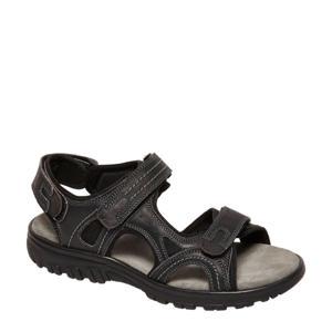 leren outdoor sandalen zwart