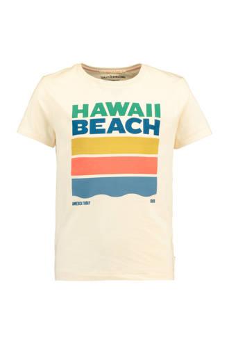 T-shirt Elro met printopdruk ecru