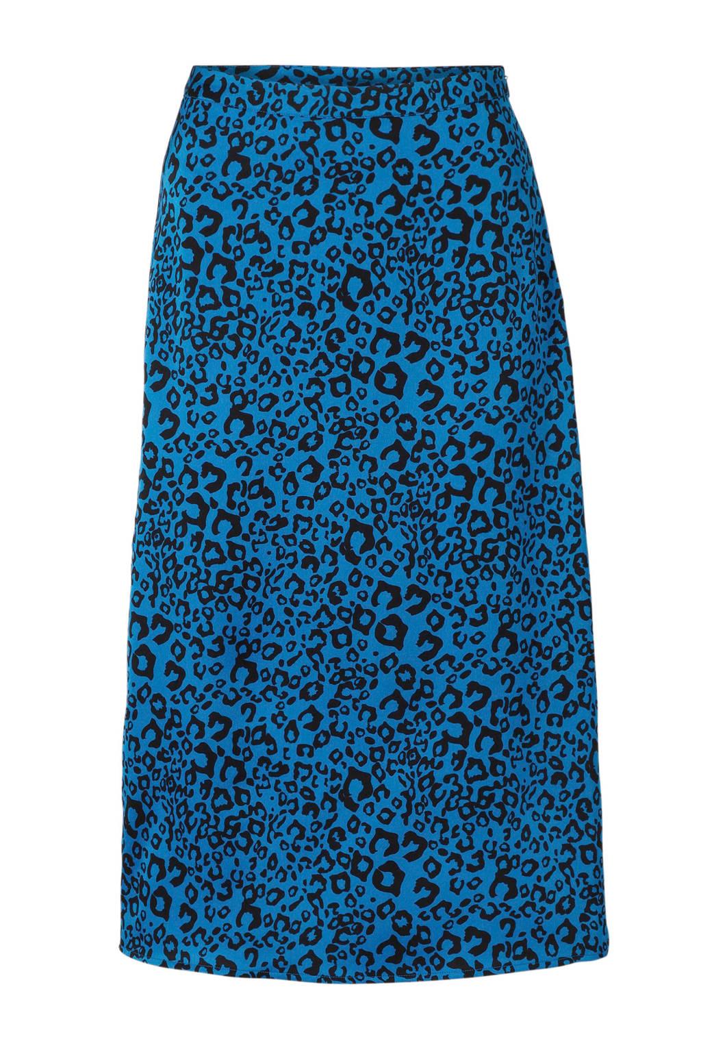 VILA rok met panterprint blauw, Blauw