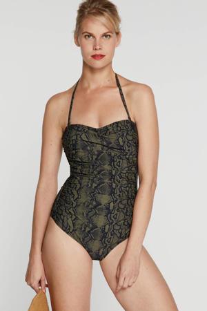 strapless bandeau badpak olijfgroen/zwart