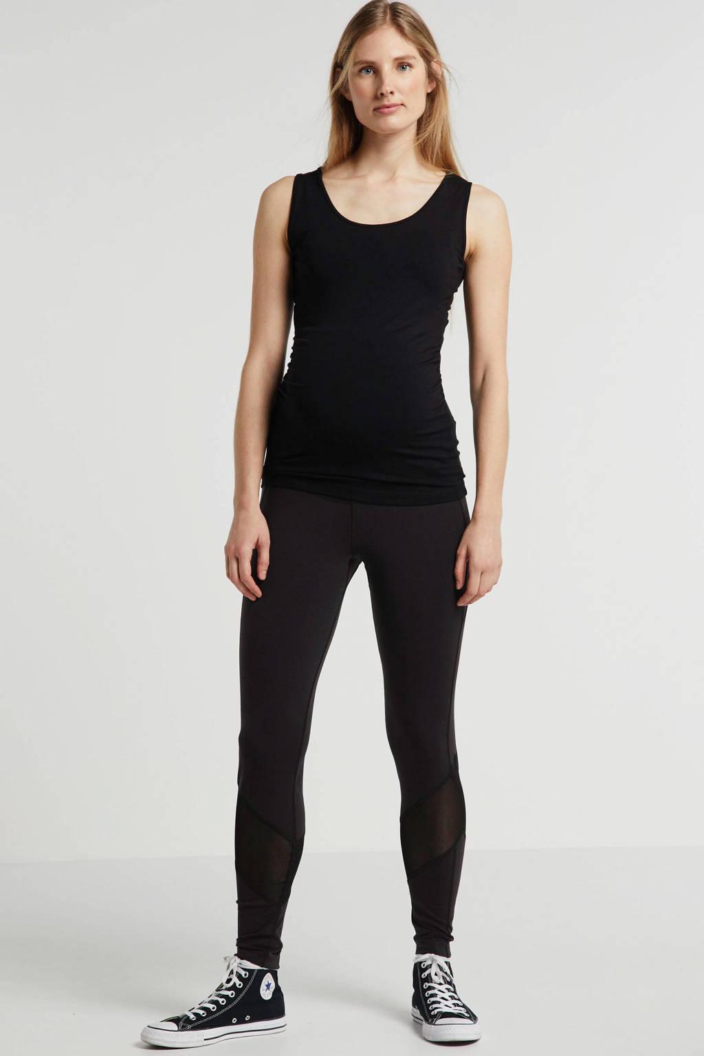 LOVE2WAIT zwangerschaps sportlegging met mesh zwart, Zwart