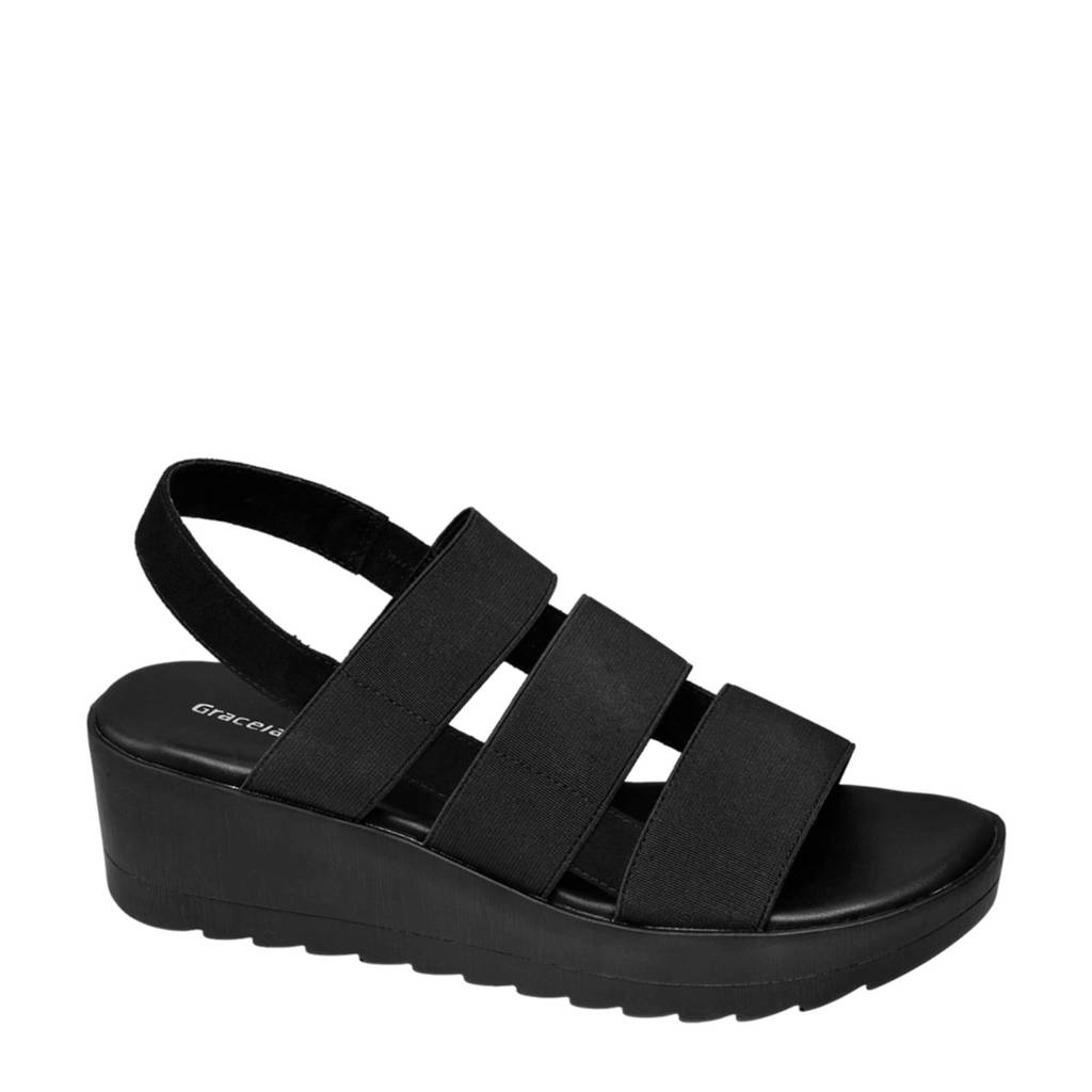 Graceland sandalettes zwart, Zwart