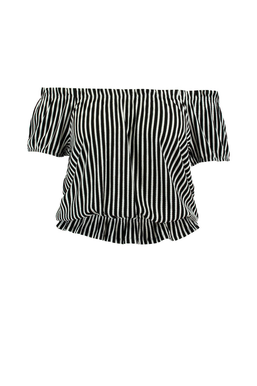 MS Mode gestreepte off shoulder top zwart, Zwart