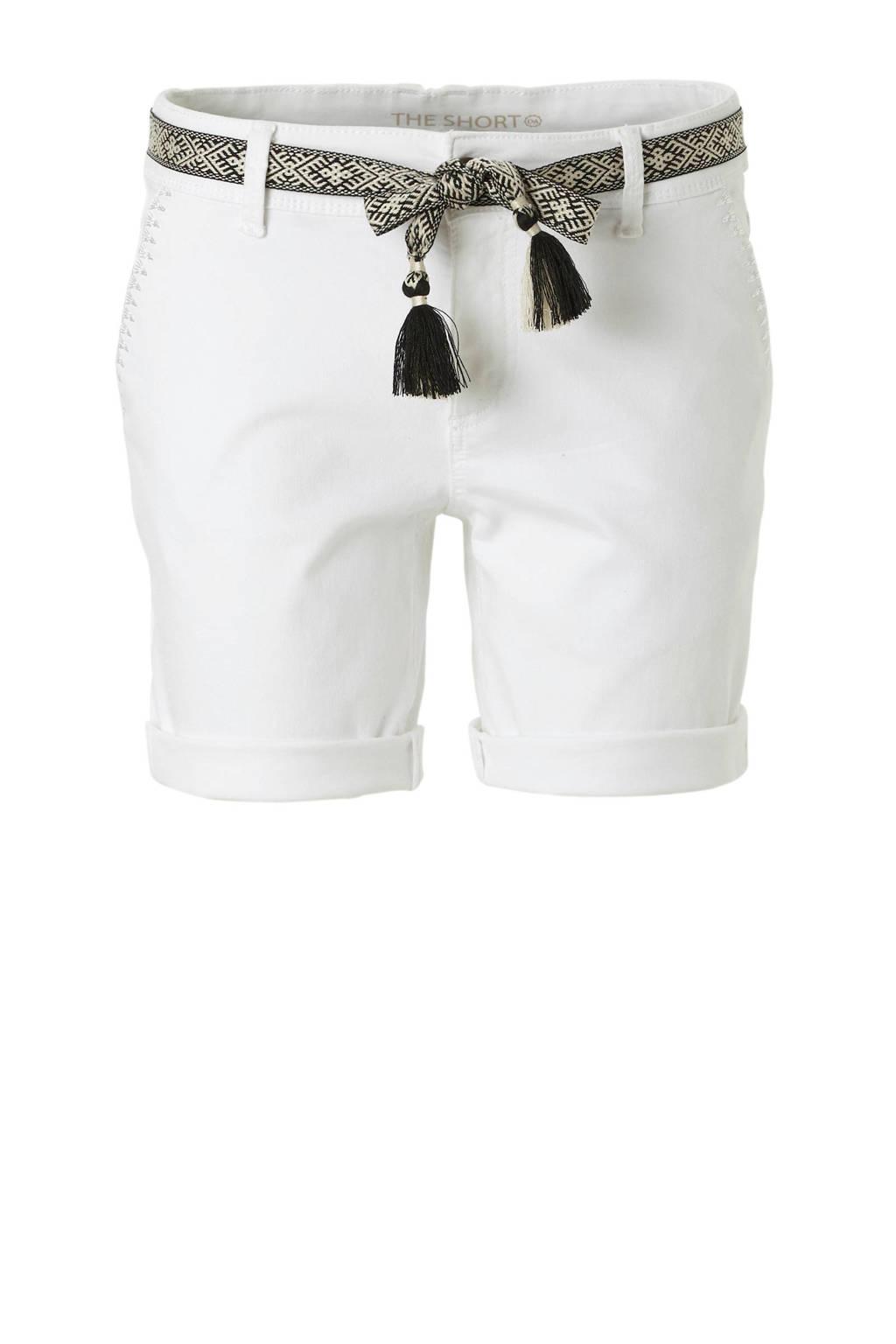 C&A Yessica korte broek met ceintuur wit, Wit