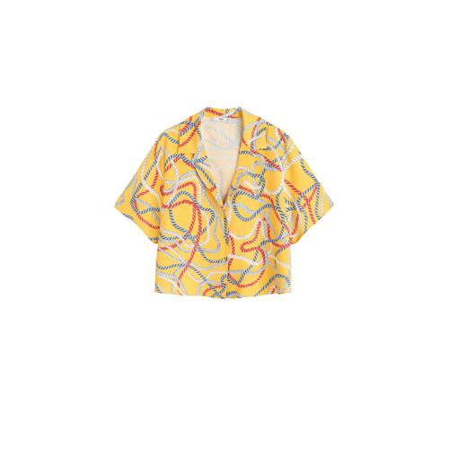 Mango blouse met all over print geel