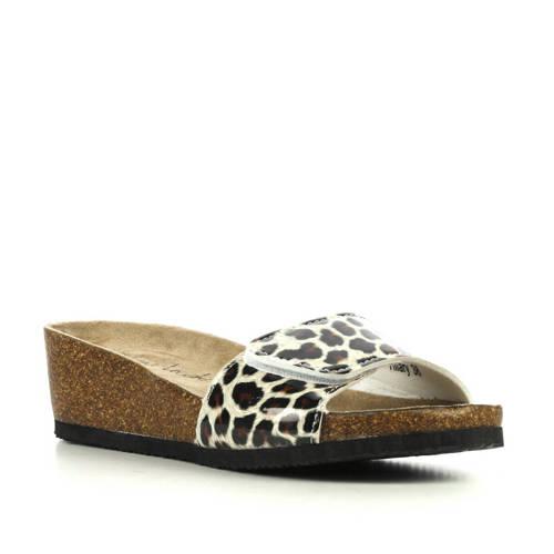 Lina Locchi slippers met panterprint bruin kopen