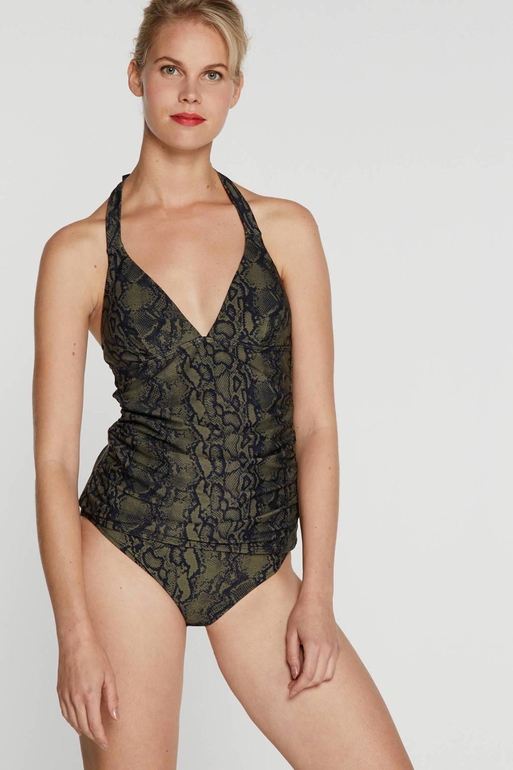 BEACHWAVE hipster bikinibroekje met slangenprint olijfgroen/zwart, Olijfgroen/zwart
