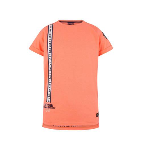 Retour Denim T-shirt Italo met print neon ranje kopen