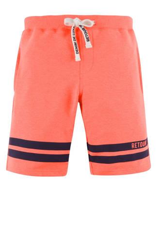 sweatshort Elvino met printopdruk neon oranje/donkerblauw