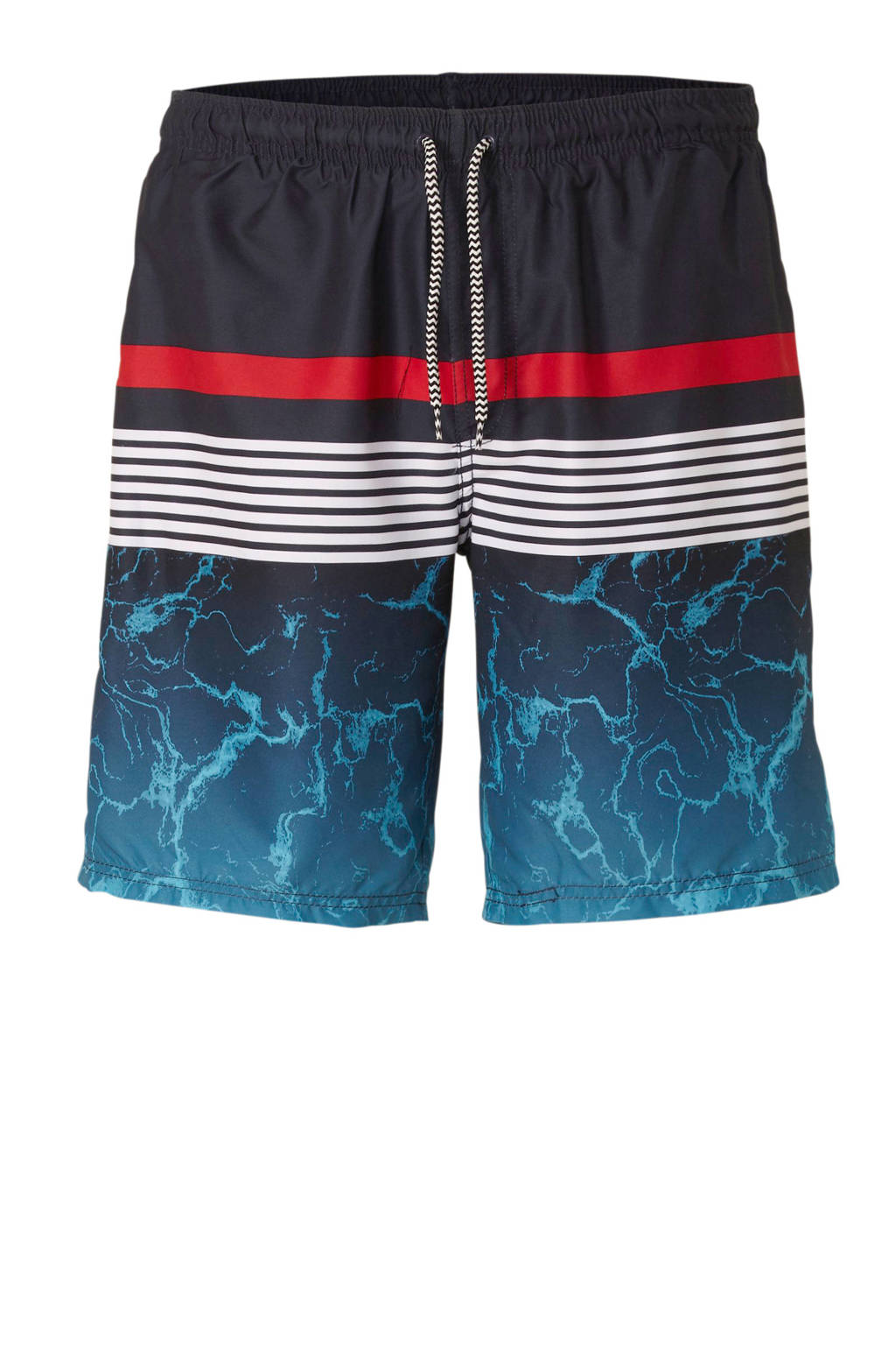 C&A zwemshort met printopdruk marine, Marine/rood/wit
