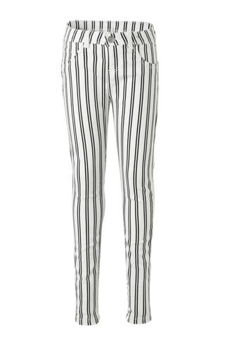 Here & There gestreepte skinny jeans zwart/wit