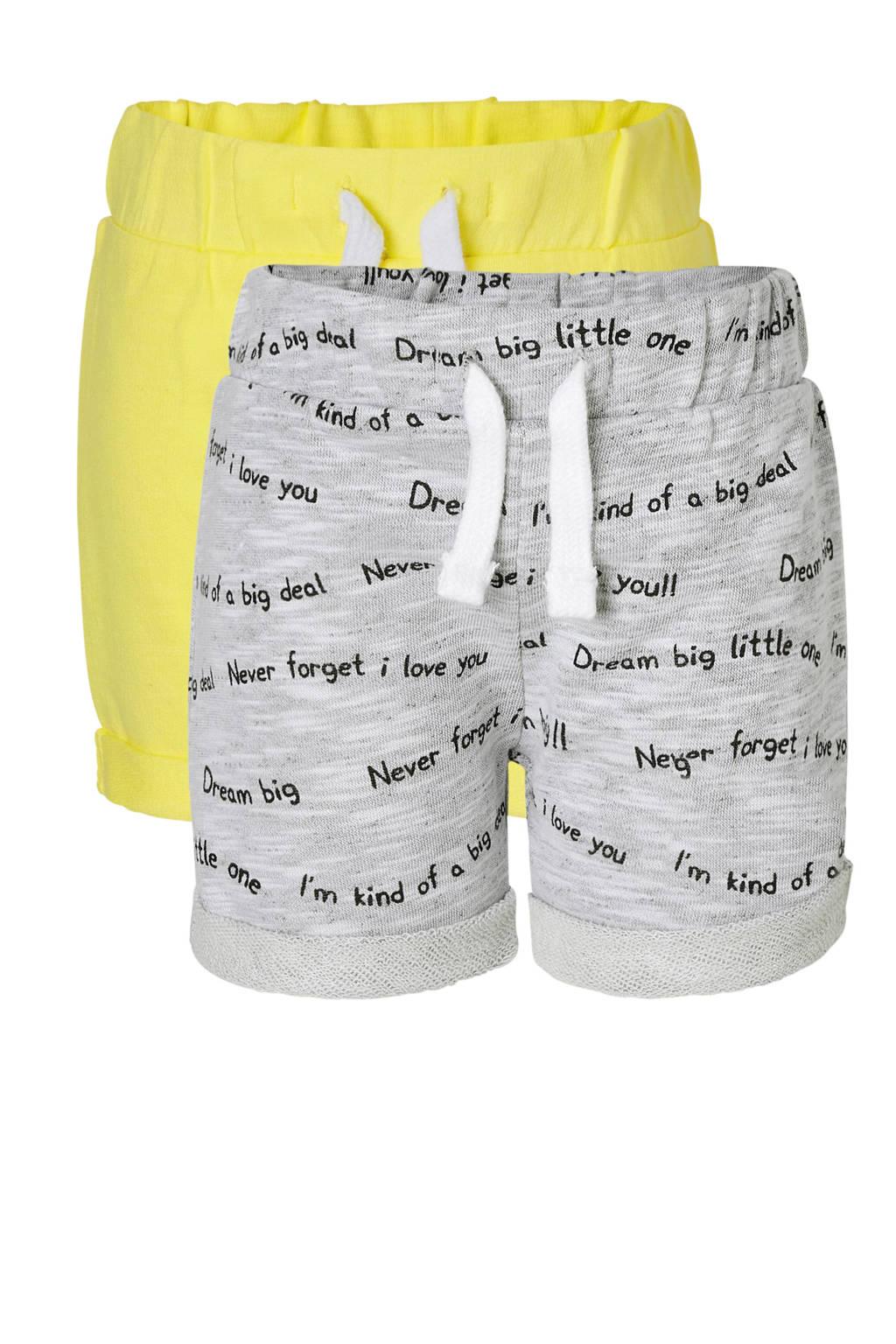 C&A Baby Club sweatshort met tekst grijs, Grijs