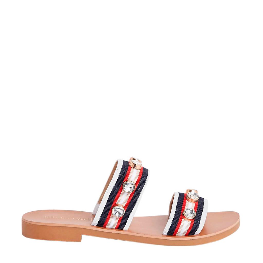 River Island   slippers met sierstenen, Rood/blauw/wit