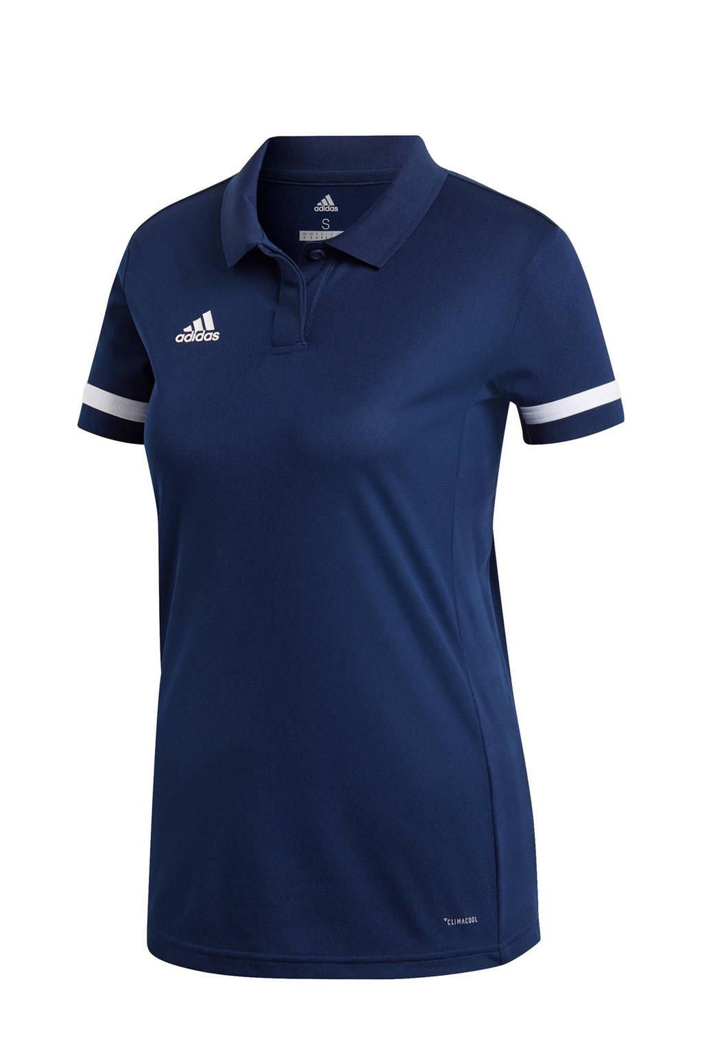 adidas performance Team19 sportpolo blauw, Blauw/wit