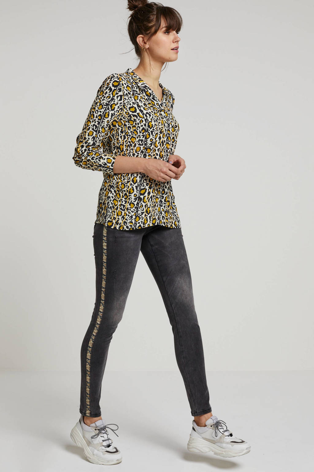 Geisha gemêleerde slim fit jeans met zijstreep grijs, Grijs