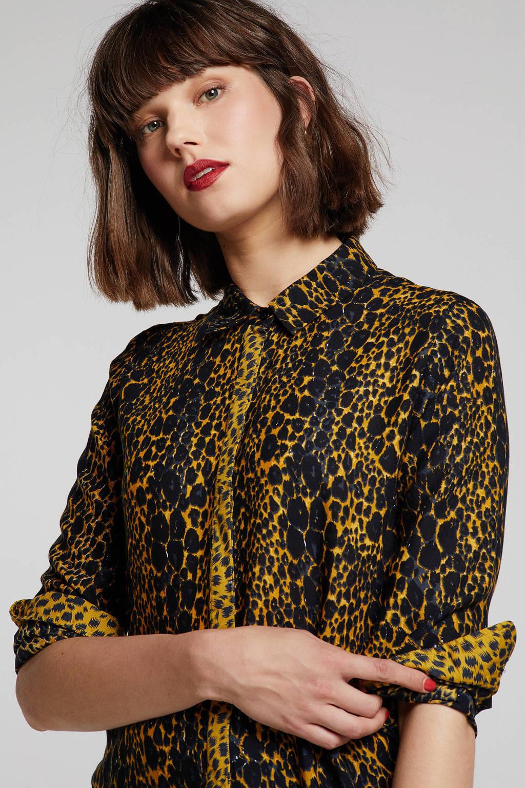 Geisha blouse met slangenprint geel/zwart, Geel/zwart