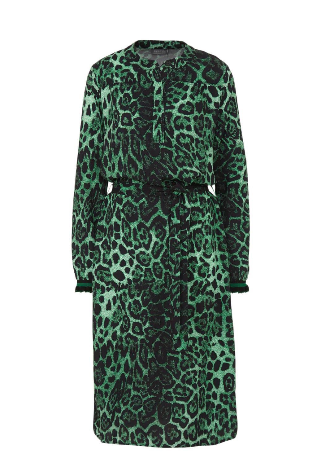 Geisha jurk met panterprint groen, Groen