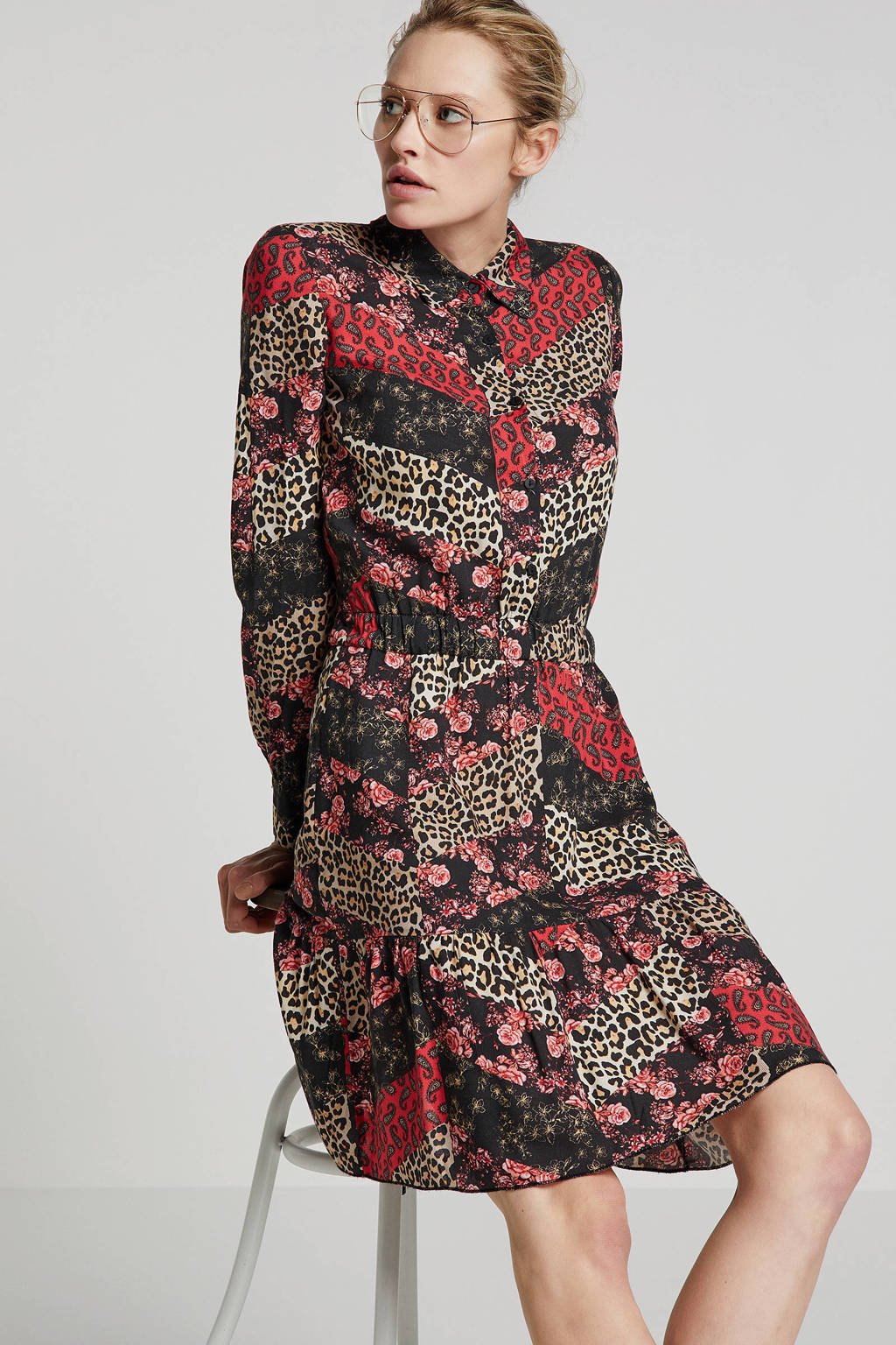 Geisha blousejurk met all over print rood, Rood/bruin/wit