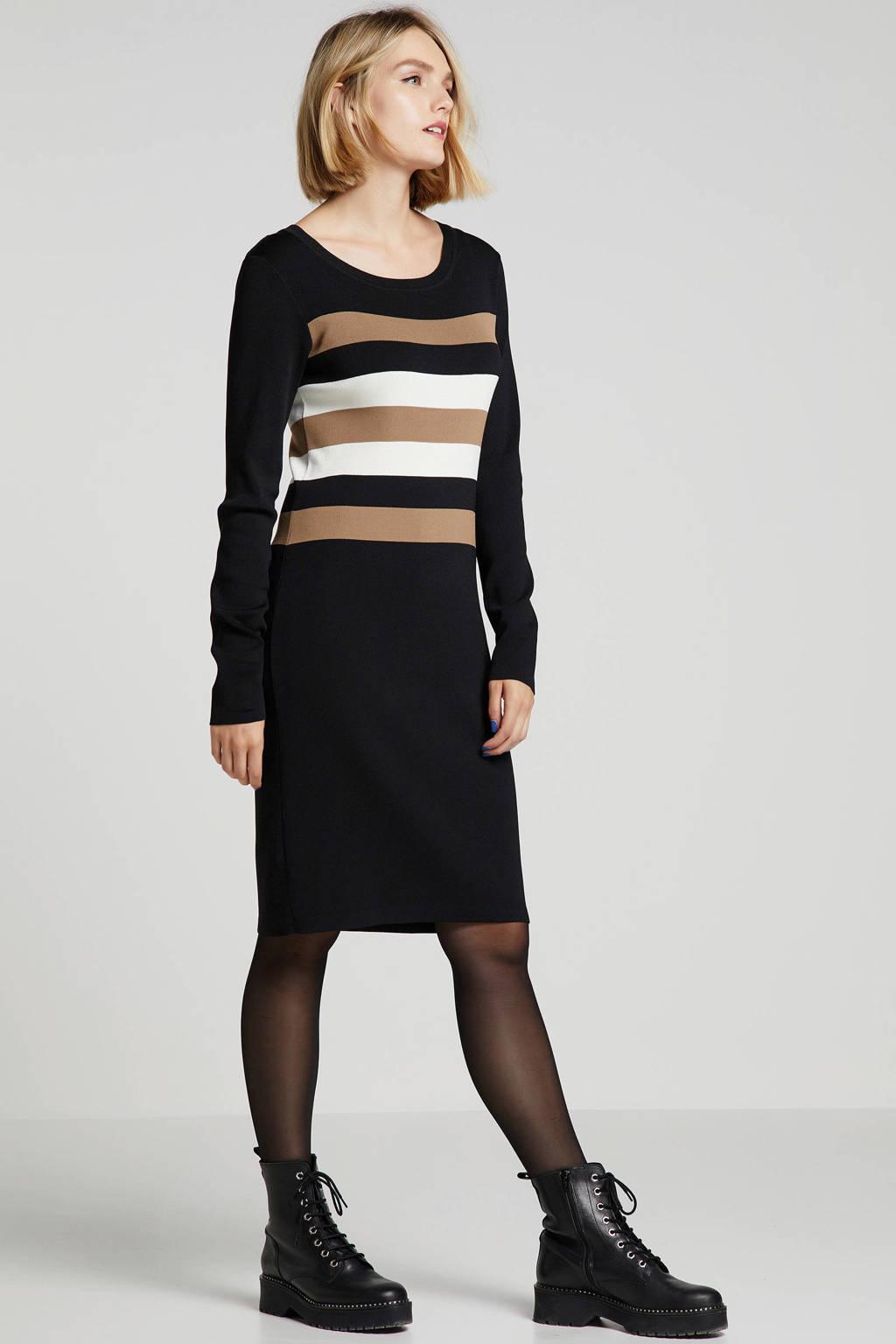 Geisha gebreide jurk met strepen, Zwart/bruin/wit