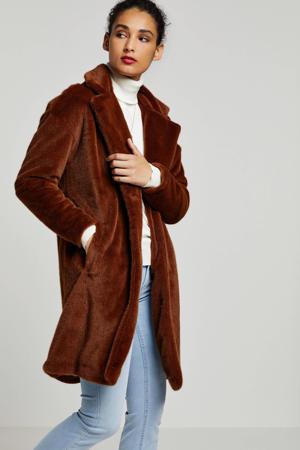 fake fur jas roodbruin