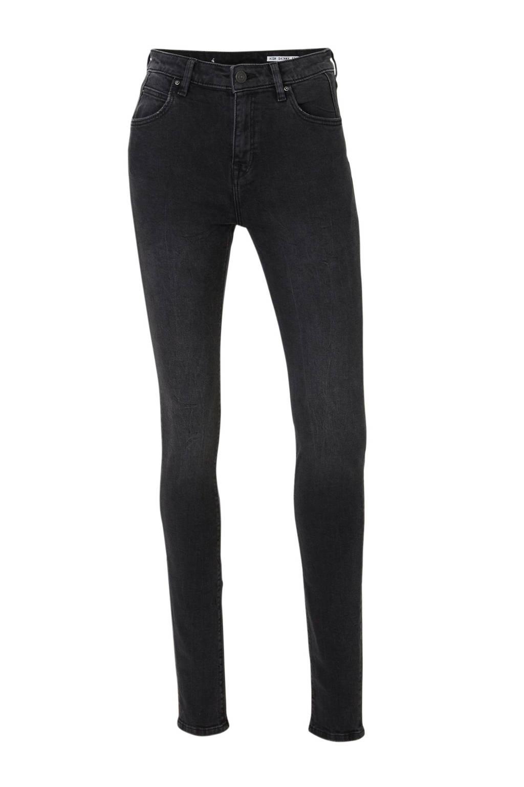 edc Women high waist skinny jeans zwart, Zwart