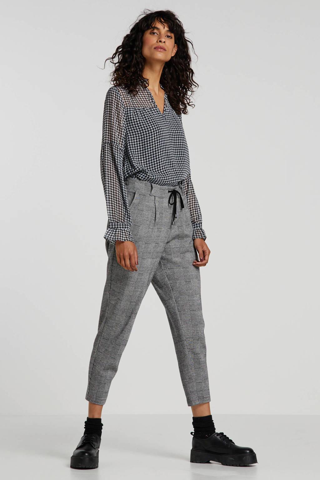 edc Women geruite slim fit broek zwart/wit, Zwart/wit