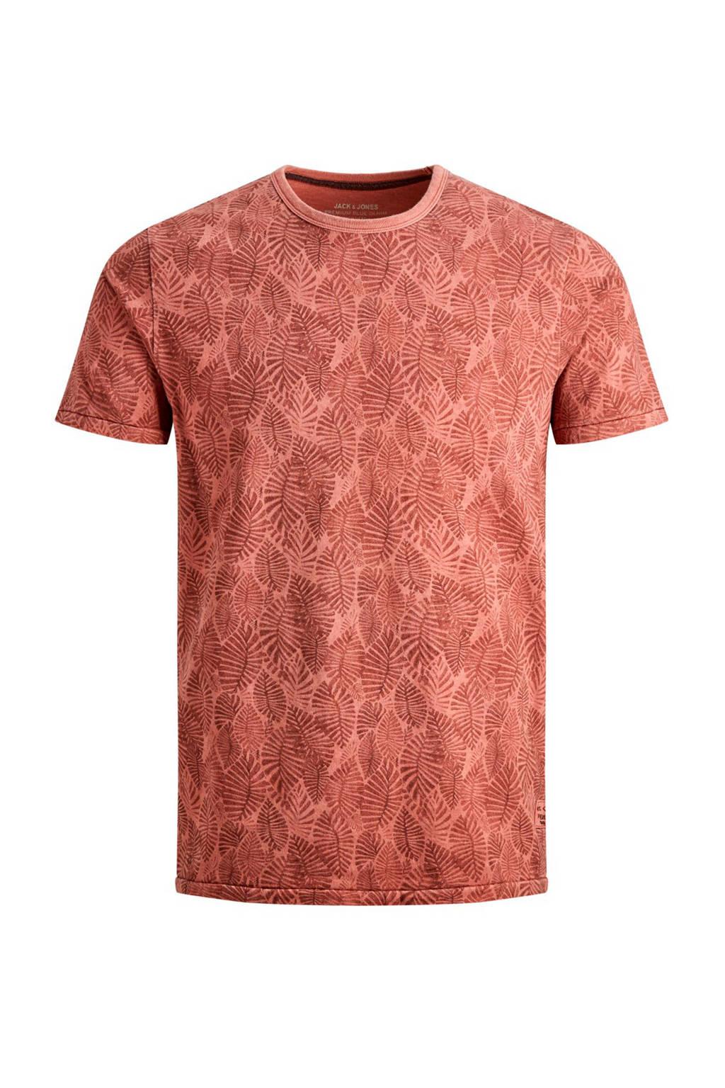 Jack & Jones Premium slim fit T-shirt met all over print, Rood