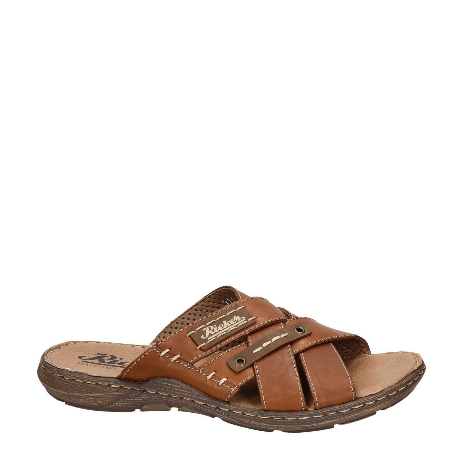 Rieker leren slippers bruin | wehkamp