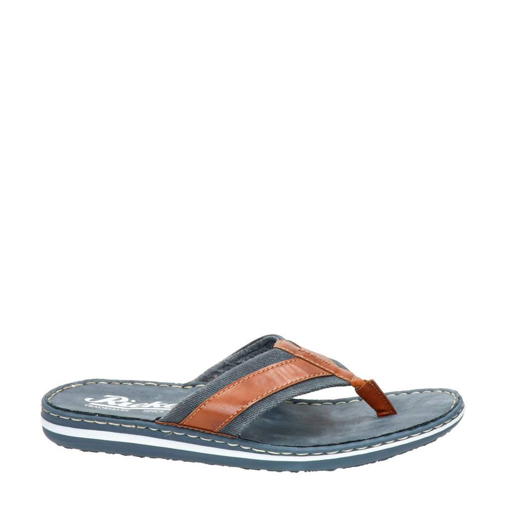 Rieker   slippers bruin/blauw, Bruin/blauw