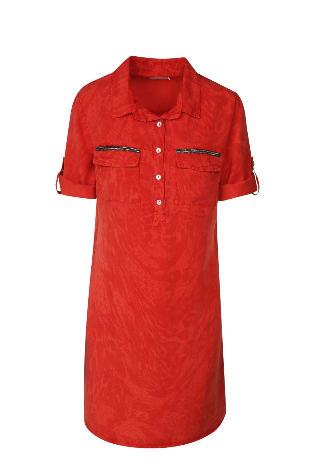 Cassis blousejurk met slangenprint rood, Rood