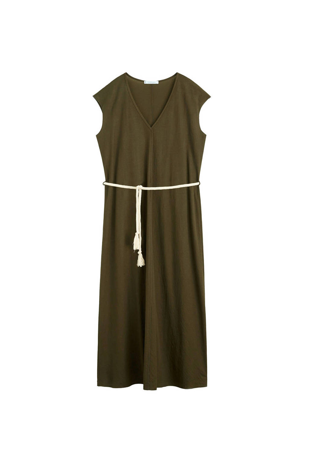 Violeta by Mango jurk lang met tailleband kaki, Kaki