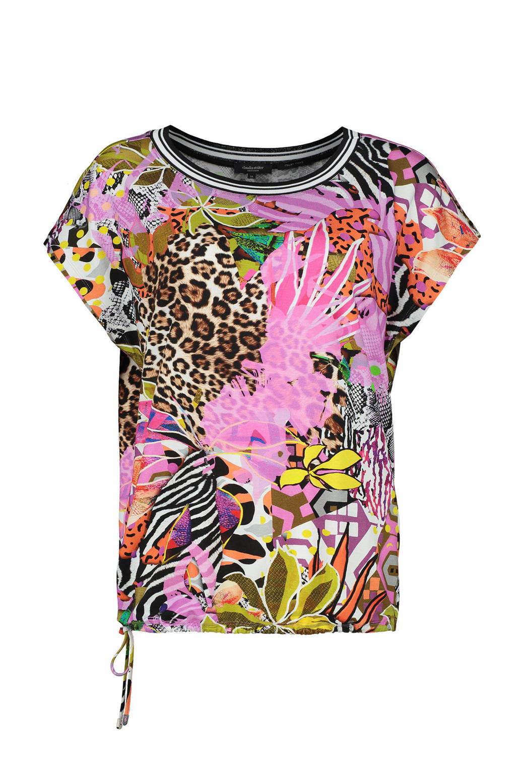 Claudia Sträter T-shirt met all over print, Roze/multi