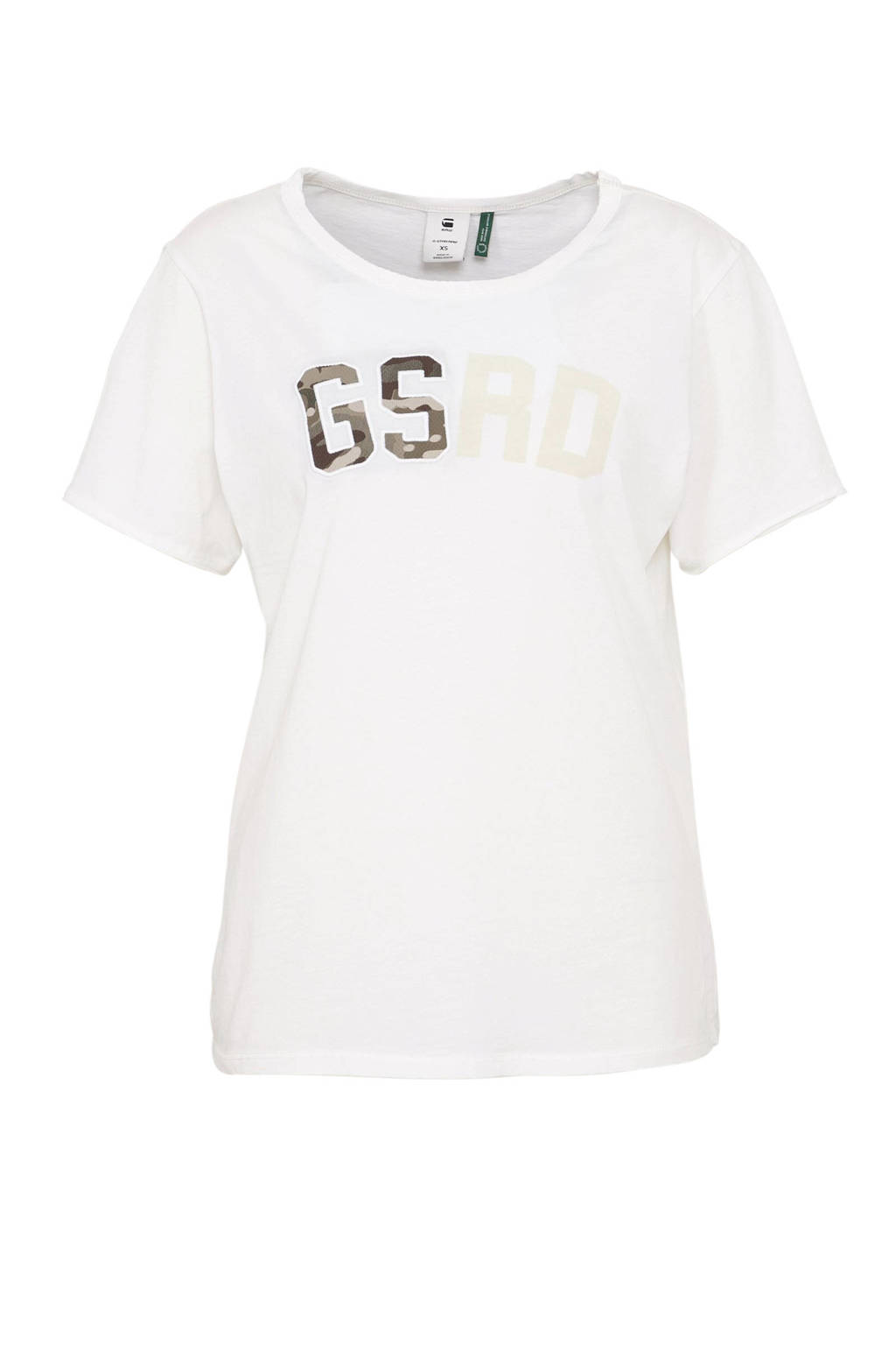 G-Star RAW T-shirt met letters wit, Wit