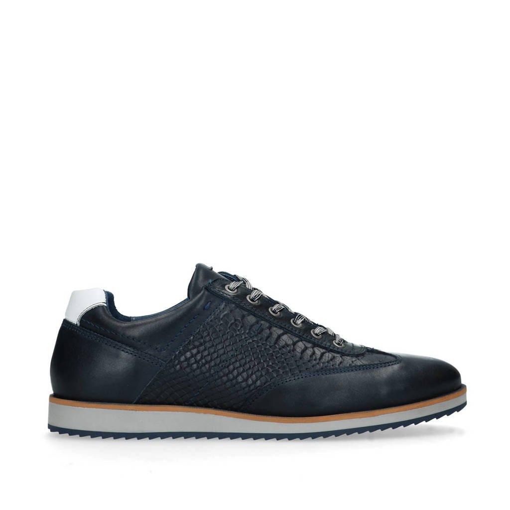 Manfield   leren sneakers donkerblauw, Blauw